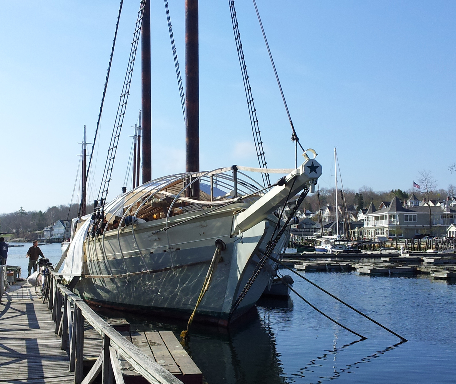 Maine windjammer Mary Day removes her winter cover
