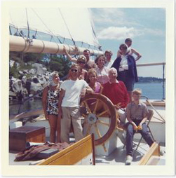Guests and Capt of Maine windjammer cruises vacations Mary Day